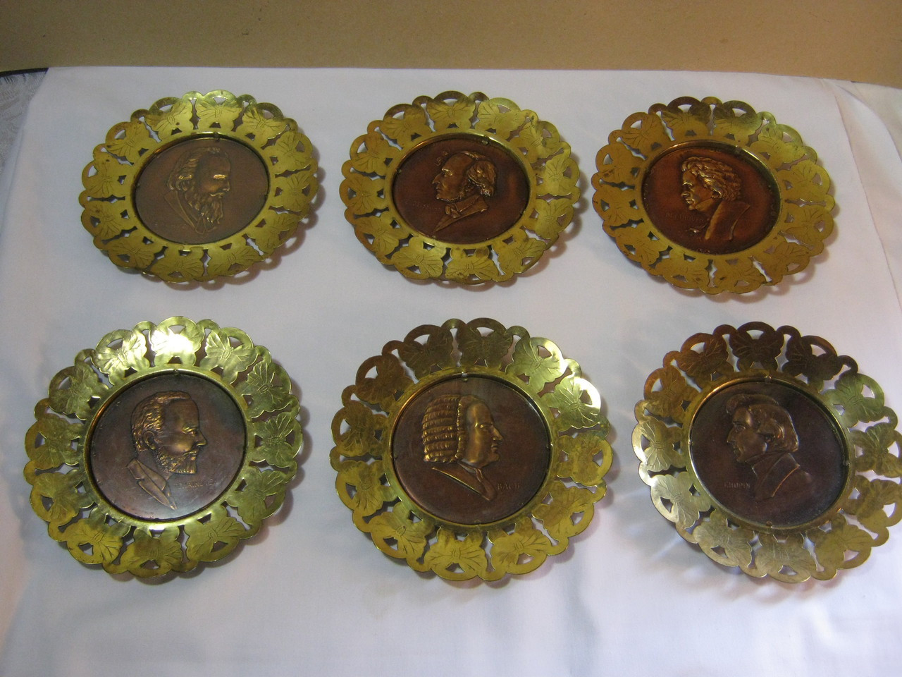Image of: Classical Composers Vtg Set Of 6 Brass Wall Plaques England Bach Brahms