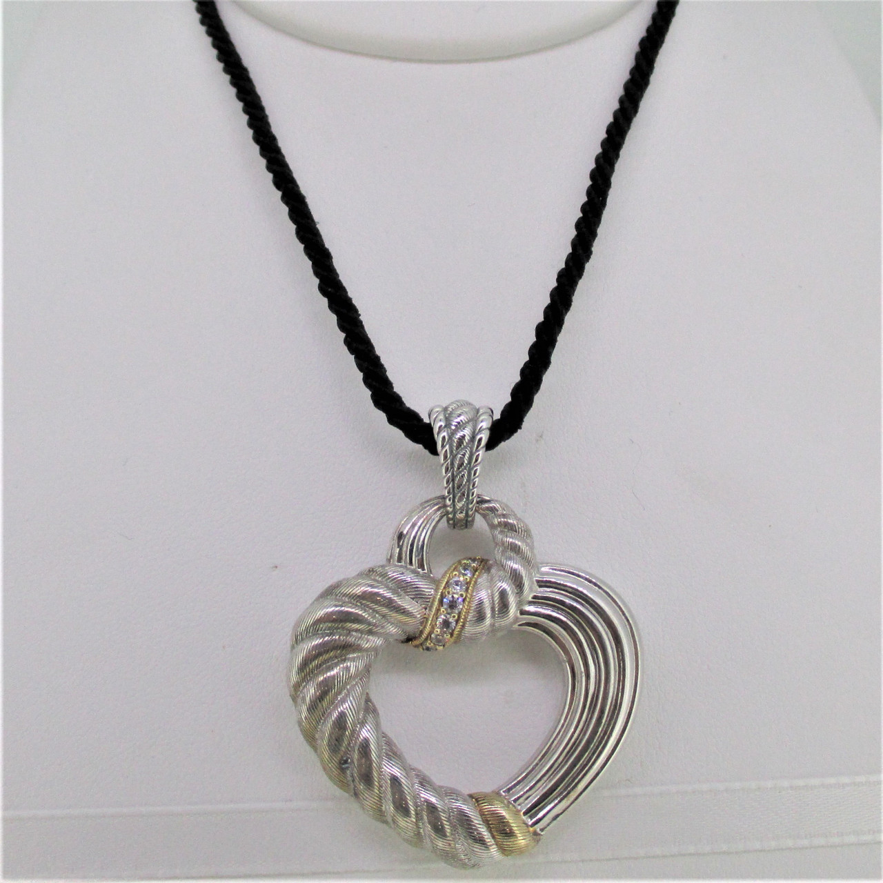 Sterling Silver Judith Ripka Pin And Heart Pendant