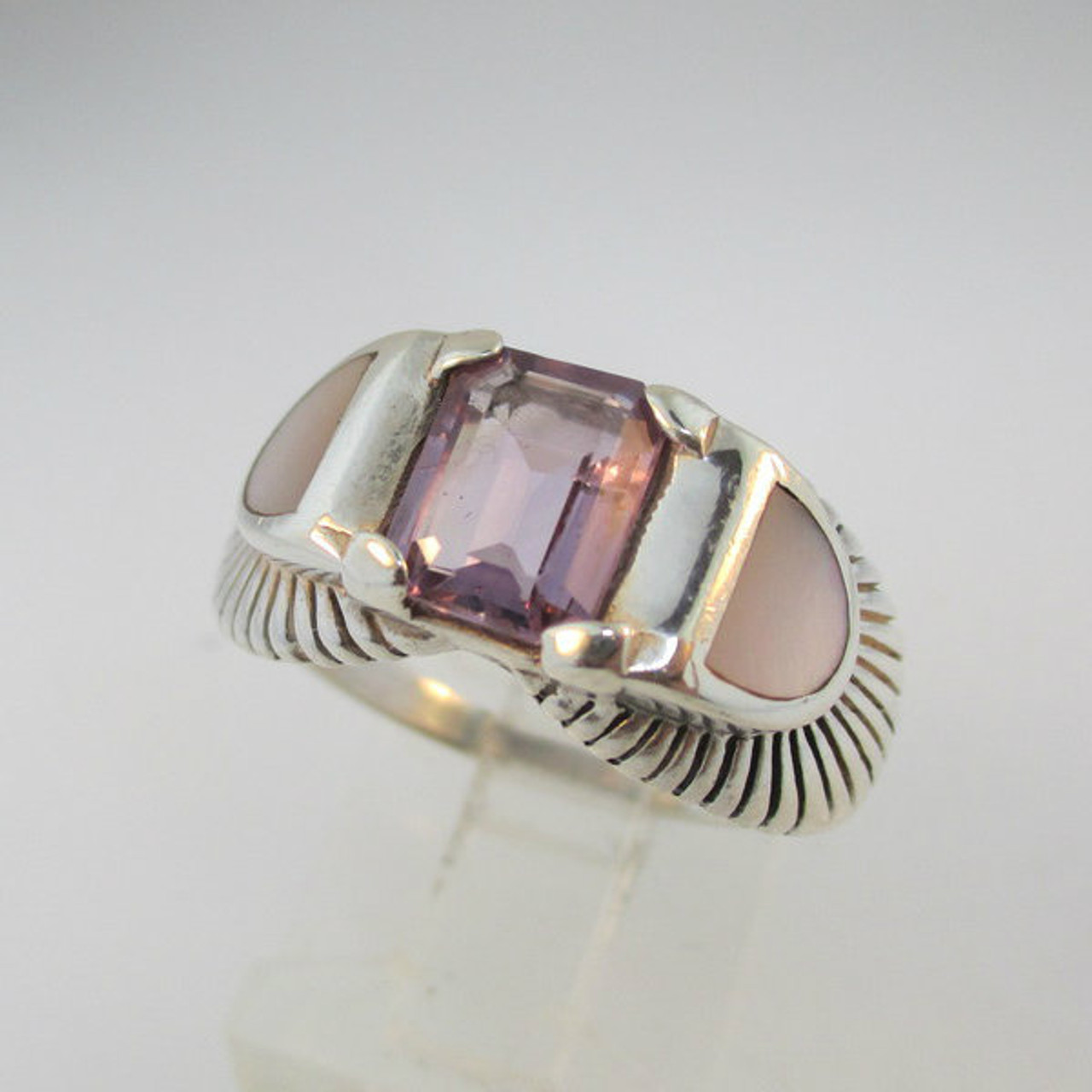 sterling mother of pearl and amethyst ring size 8