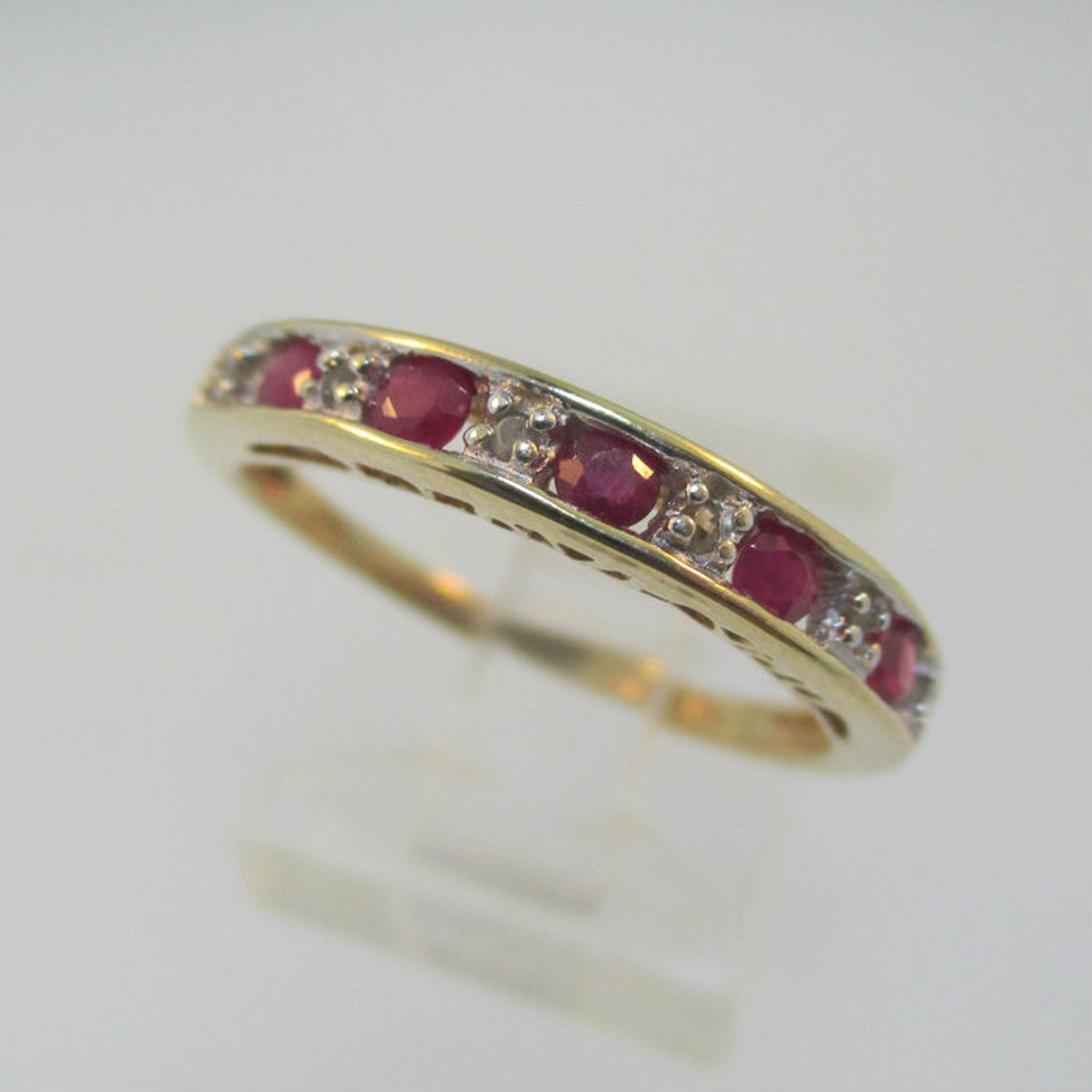 10k Yellow Gold Ruby And Diamond Ring With I Love You In Band Size 7
