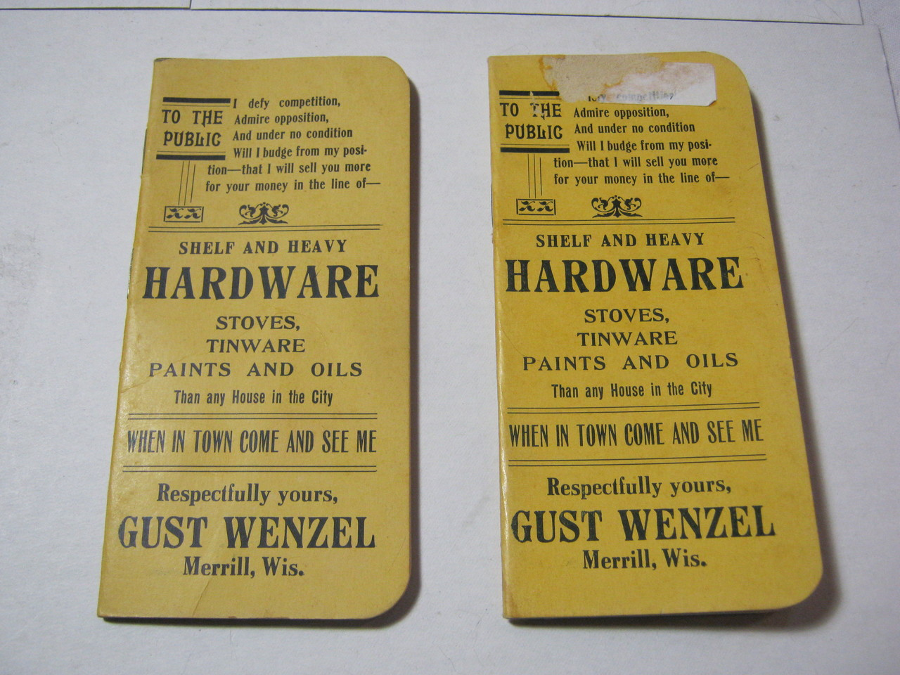 Gust Wenzel Hardware Store Advertising Pocket Old Note Pad Merrill T*