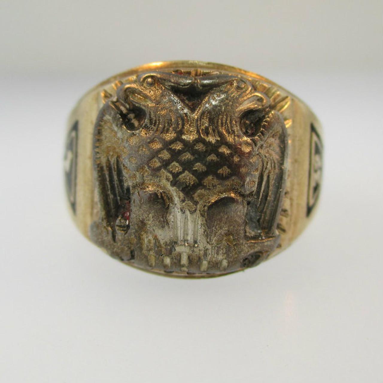 10k Yellow Gold Masonic Ring 32nd Degree Size 10