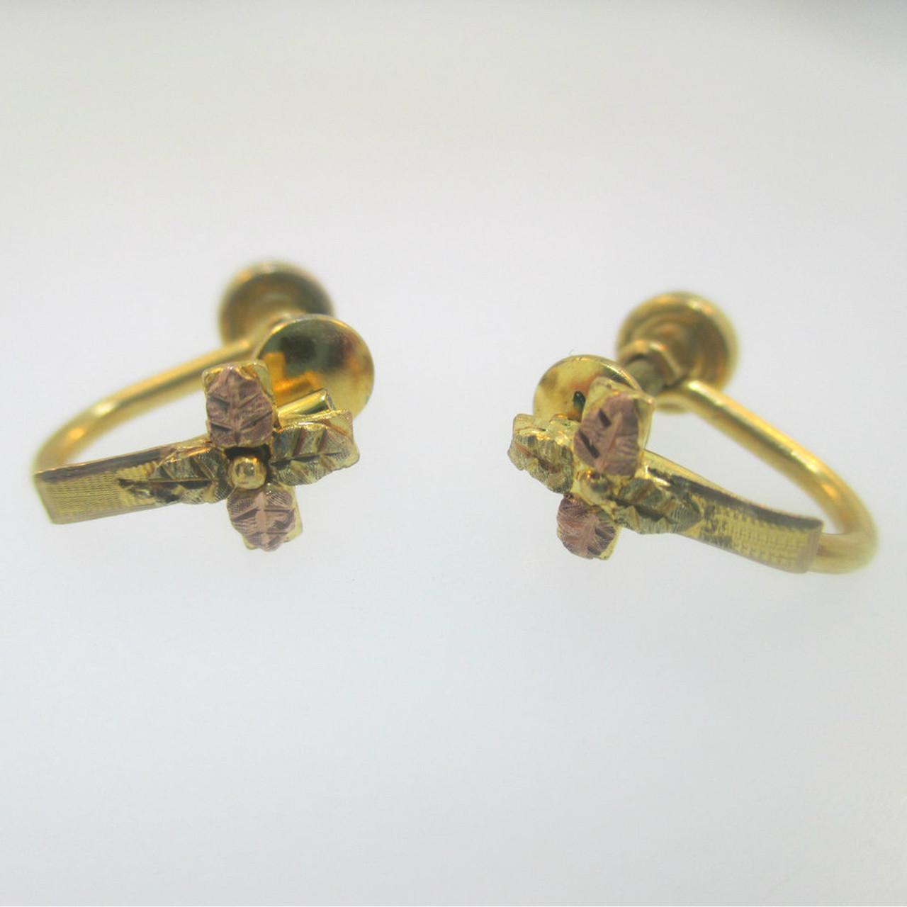58961c917 10k Black Hills Gold Cross and Gold Filled Screw Back Earrings