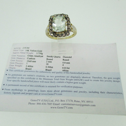14k Yellow Gold 2 40ct Green Amethyst with Smokey Quartz and Diamond  Accents Size 7 1/4