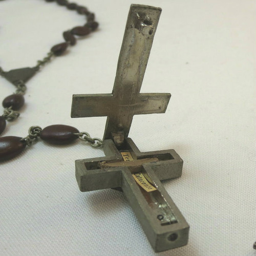 Long Vintage Rosary Bean Beads & Hinged Crucifix Pendant Stamped Roma Italy
