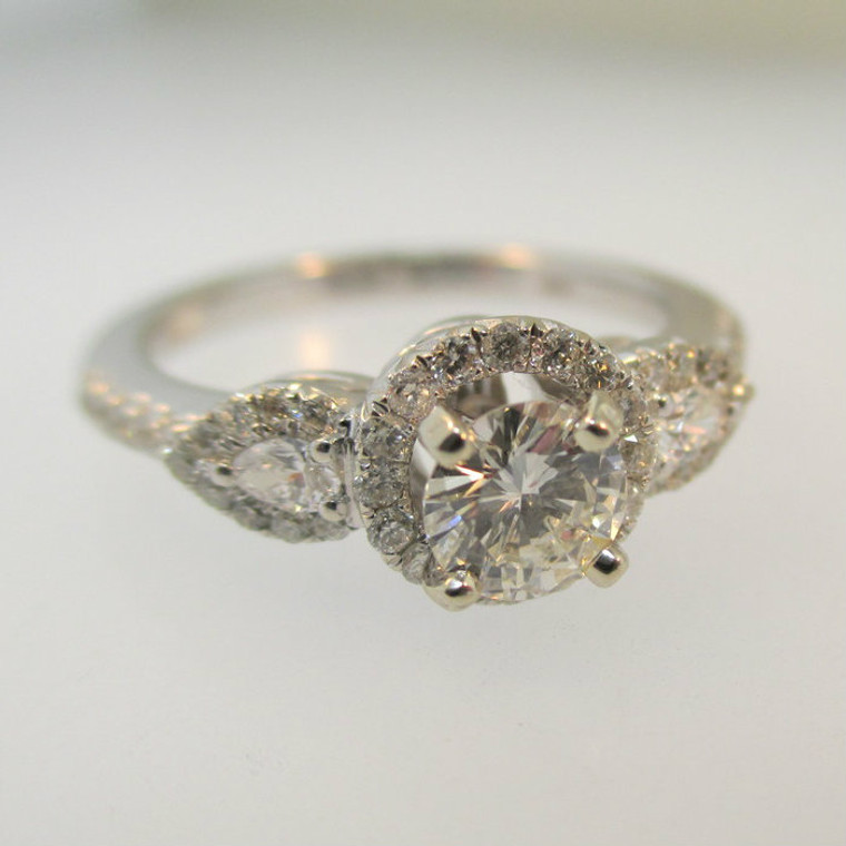 14k White Gold .41ct Round Brilliant Cut Diamond Ring with Diamond Halo Accents Size 6 3/4