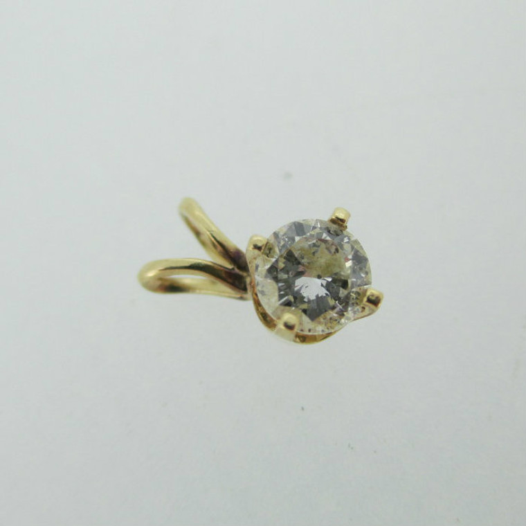 14k Yellow Gold Approx 1/3ct Round Brilliant Cut Solitaire Pendant
