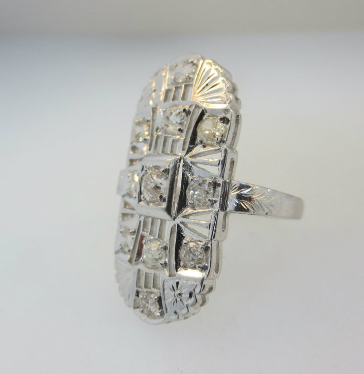 Vintage 1920's Era Platinum Approx. 1.0ct TW European Cut Diamond Ring with Delicate Filigree Accents. Size 5 ½*
