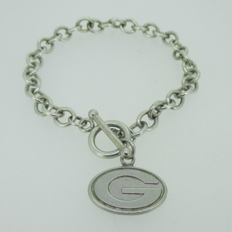 Sterling Silver Green Bay Packers G Toggle Bracelet
