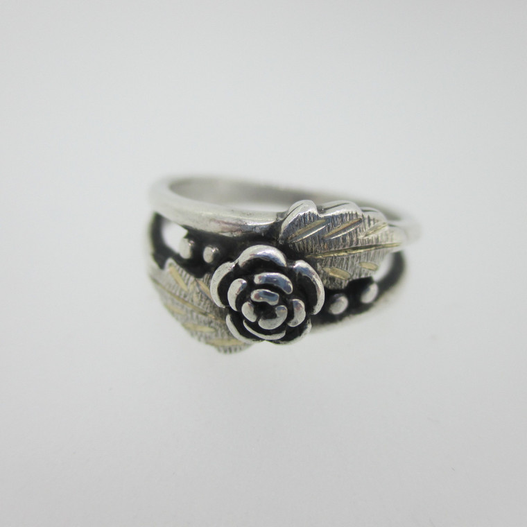 Sterling Silver Black Hills Gold Style Wheeler Ring Size 4.5