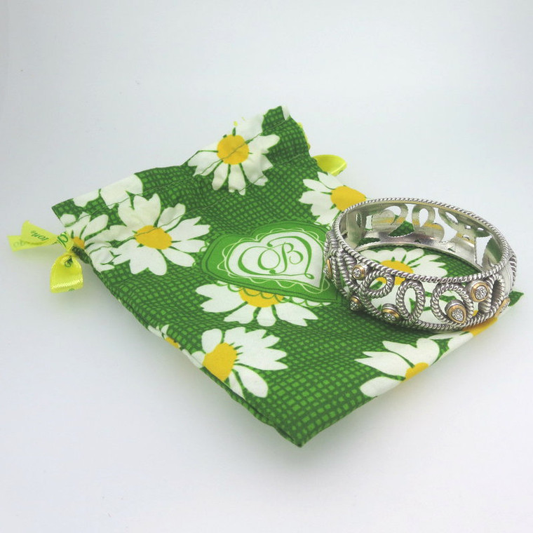 Brighton Rope Loop Design Magnetic Hinged Bangle Cuff Bracelet with Daisy Pouch