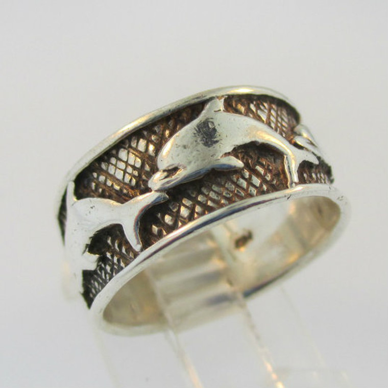 Sterling Silver Marsala Dolphins Pattern Band Ring Size 6