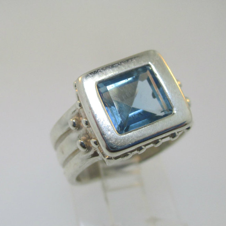 Sterling Silver Blue Topaz Square Ring Size 6