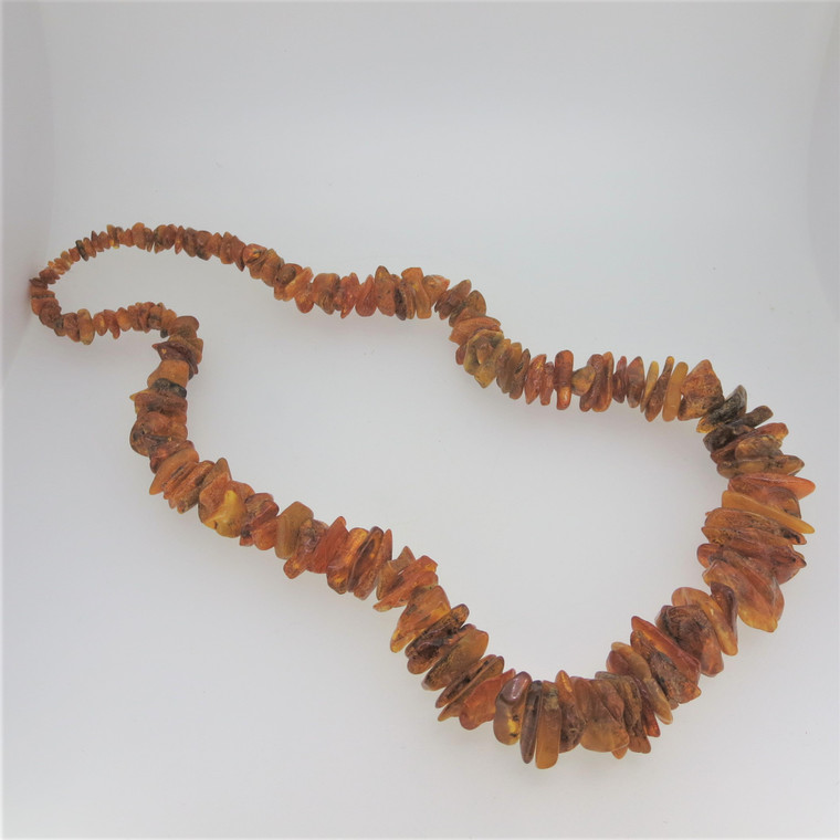 Vintage Rugged Honey & Cognac Amber Beaded Necklace Unsigned