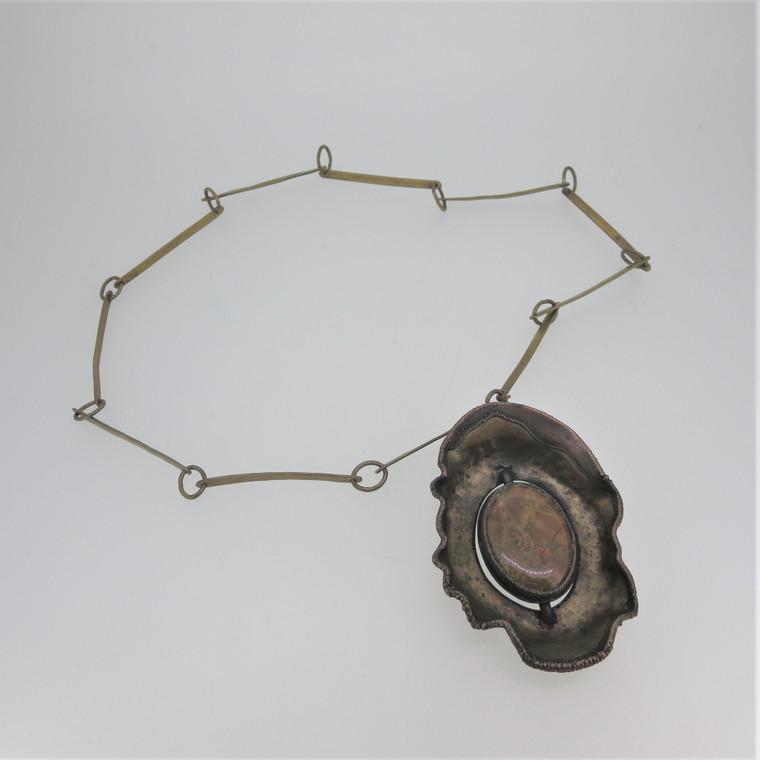 Vintage Bronze or Copper Artisan Link Necklace w Jasper or Agate Stone Pendant