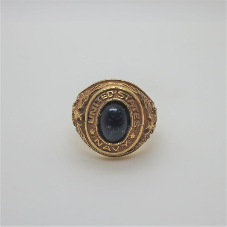 Vintage Yellow Gold Tone United States Navy Blue Stone Ring Charm