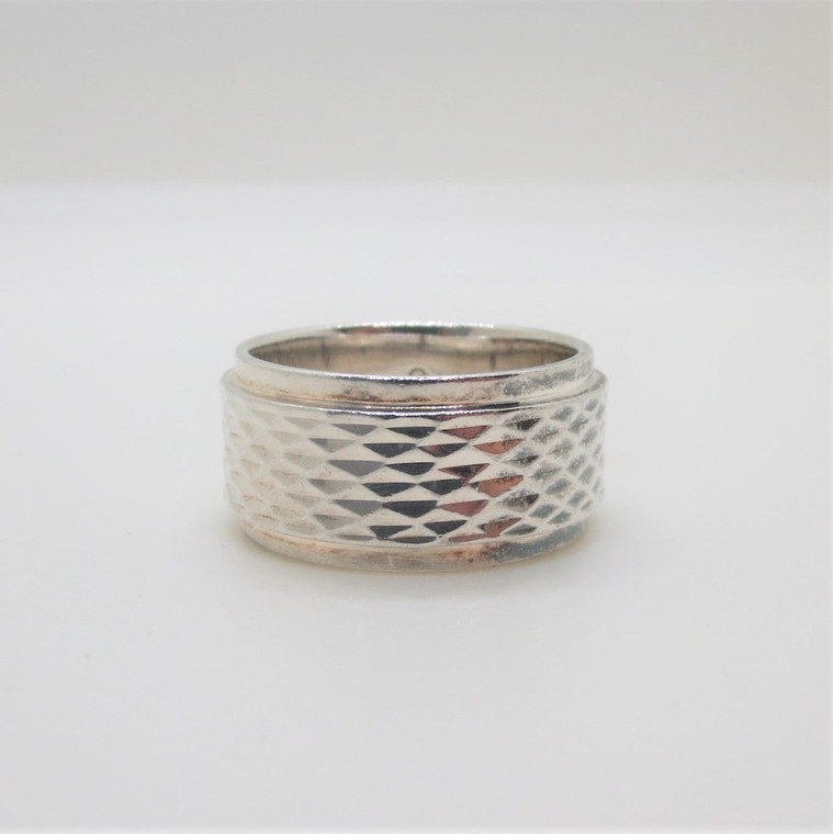 Sterling Silver Mens or Unisex Textured Pattern Band Ring Size 8.75