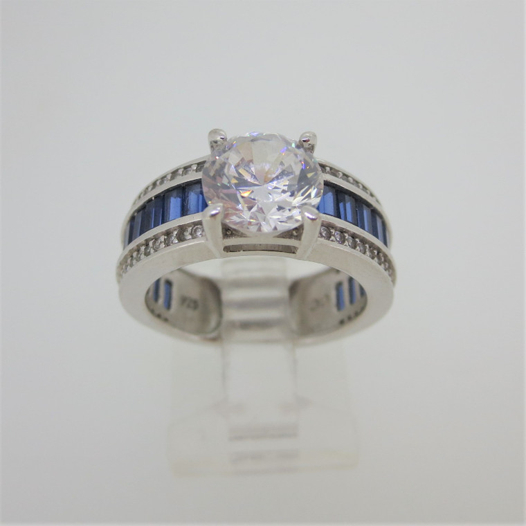 Sterling Silver CC Signed Clear CZ with Blue Stone Baguettes Ring Size 7