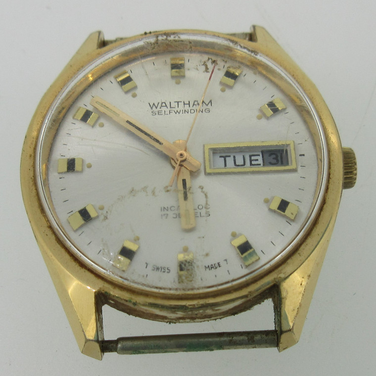 Vintage Waltham Self-Winding B-412 17J Gold Tone Watch Case Movement and Dial Parts (B14487)