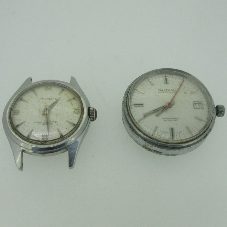 Lot of 2 Vintage Waltham and Avalon Watch Cases Movements and Dials Parts (B14499)