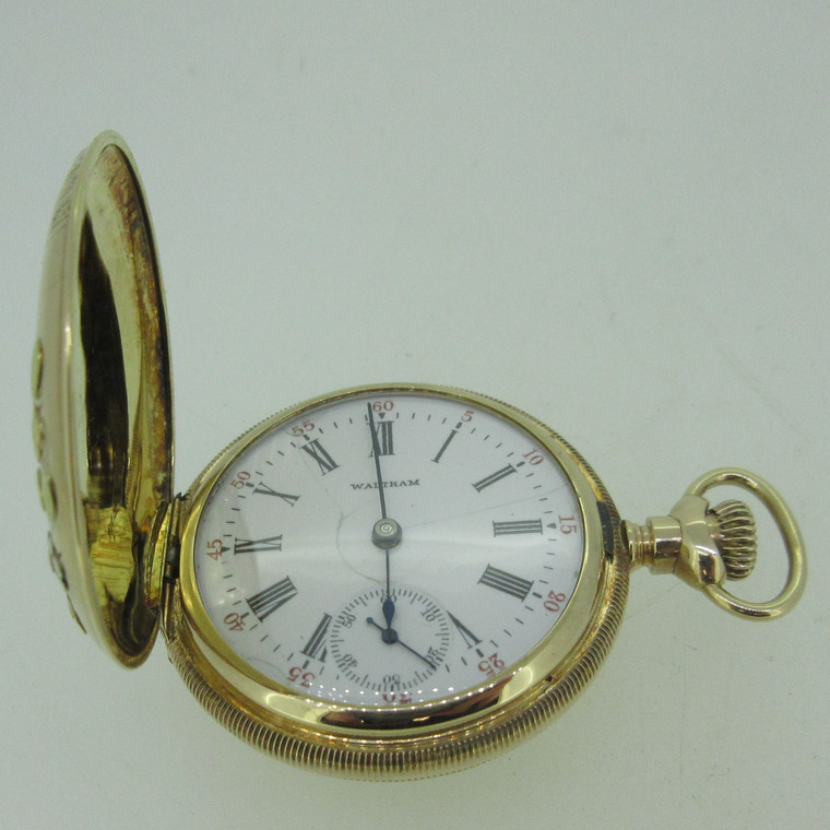 Antique 1901 Waltham G: Seaside M: 1891 0s 7J 14k Tri-Color Solid Gold Pocket Watch (B14014)