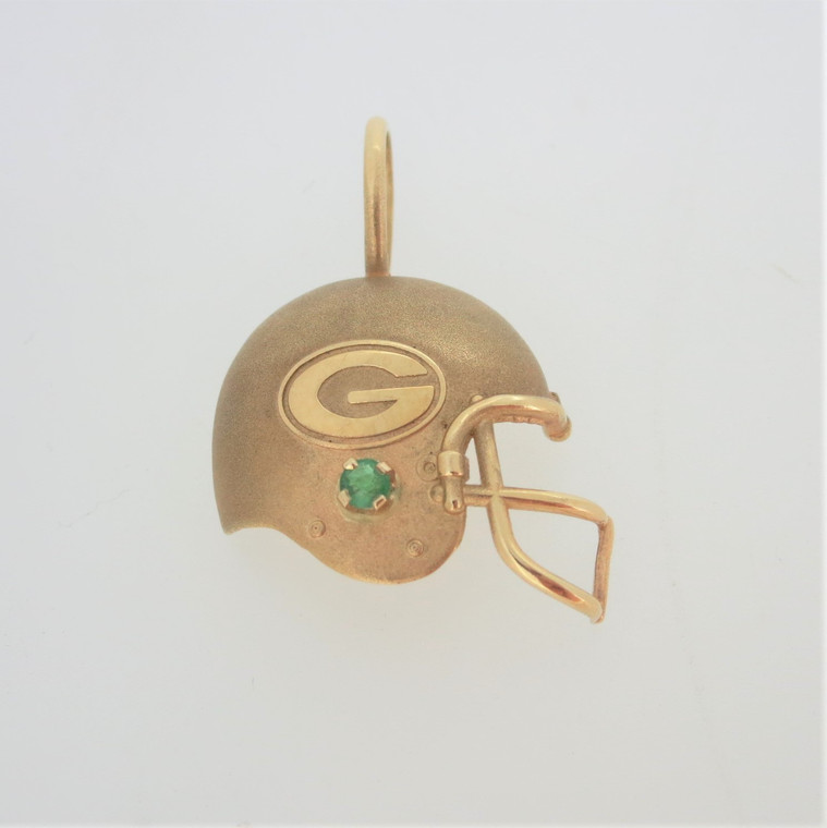 14k Yellow Gold 1994 NFLP Packers Football Helmet Pendant with Emerald Accent