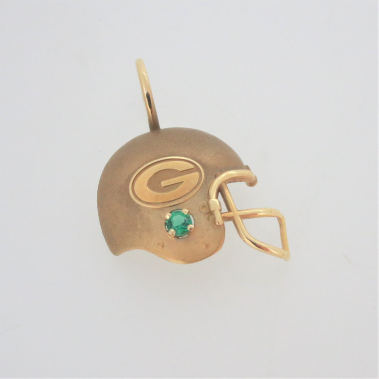 14k Yellow Gold NFLP 1994 Green Bay Packers Helmet Pendant with Created Emerald
