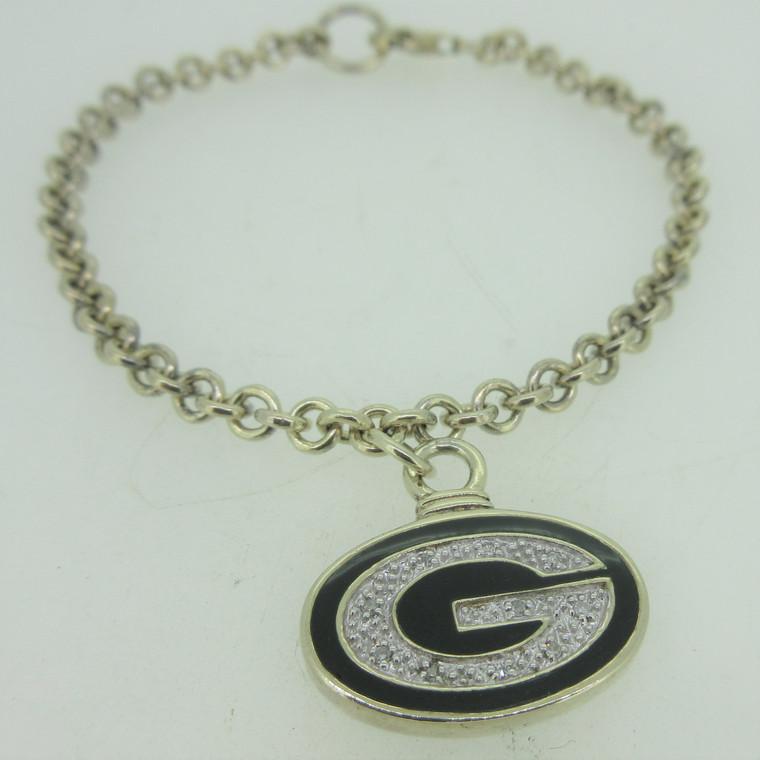 Sterling Silver Bracelet with Enamel and Diamond Packer G Logo Charm