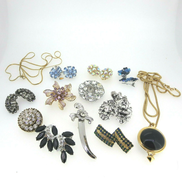 Mixed Lot of Vintage Designer Gold & Silver Tone Costume Earrings Pins Necklaces