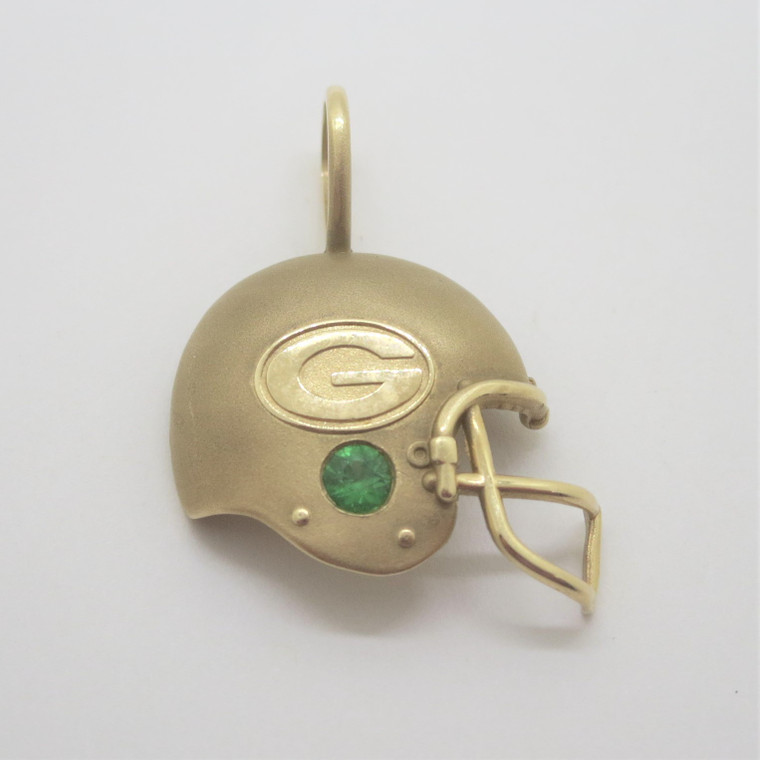 14k Yellow Gold with Created Emerald NFLP 1994 Green Bay Packers Helmet Pendant