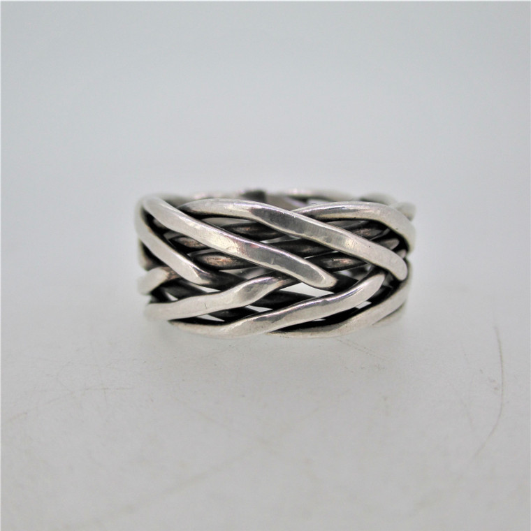 Sterling Silver Braided Openwork Band Unisex Ring Size 11