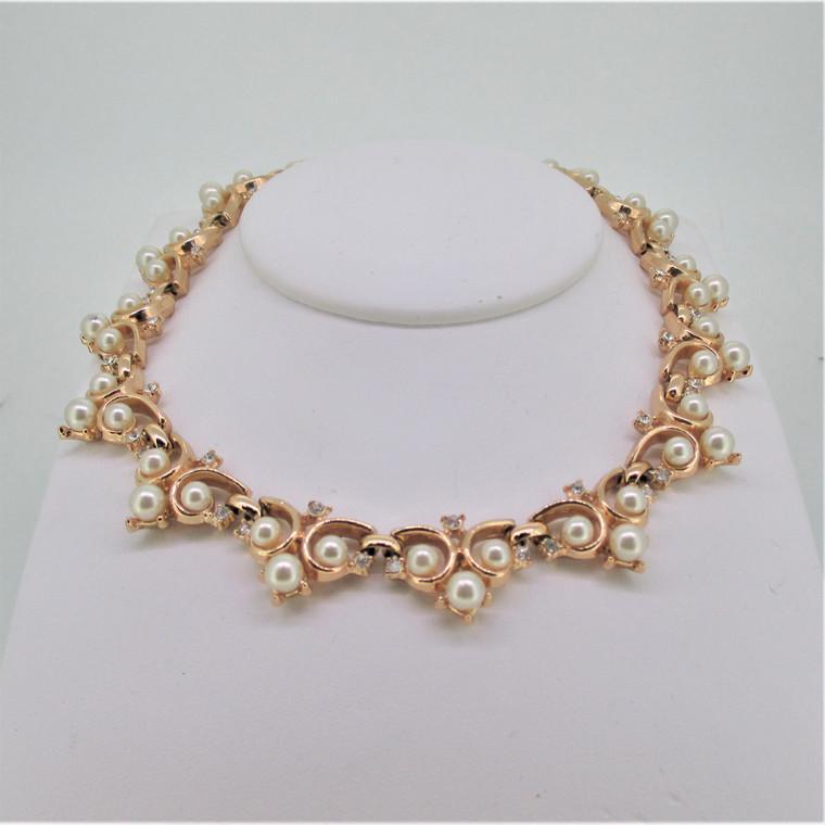 Vintage Crown Trifari Gold Tone Faux Pearl Rhinestone Necklace