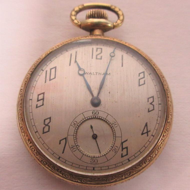 Antique 1921 Waltham Pocket Watch 7j 12s Grade No. 210 Mo. 1894 14k GF (B12607)