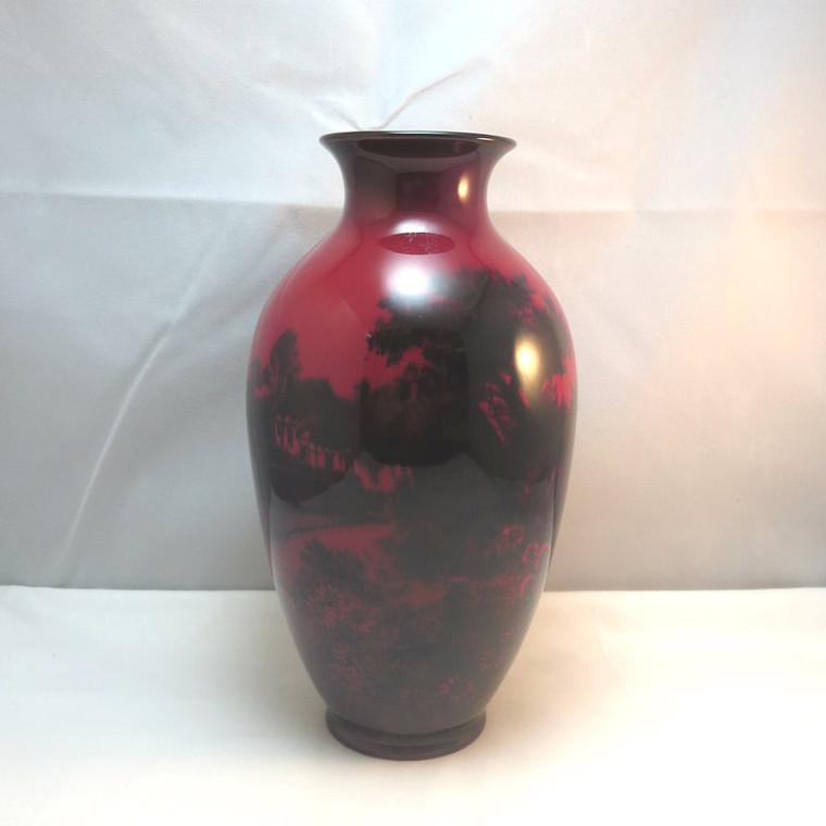 Vtg Royal Doulton Red Flambe Vase w Screened Painting Cottage & Sunflower Field