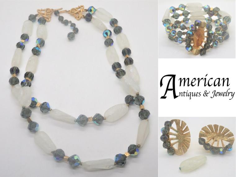 Vintage Crown Trifari Translucent White & Aurora Borealis Glass Beads Set AS IS