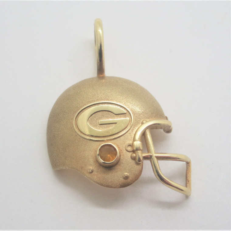 14k Yellow Gold 1994 NFLP Packers Football Helmet Pendant with Citrine Accent