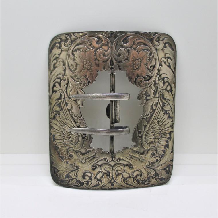R. Blackinton & Co Sterling Silver Mirrored Image Floral Design Belt Buckle
