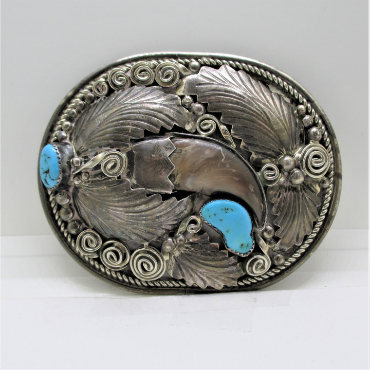 Sterling Silver Bear Claw Turquoise Feather Swirls Design Large Belt Buckle Signed GE