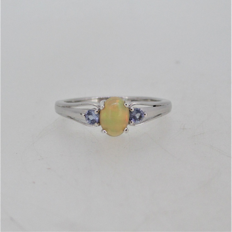 Chuck Clemency Sterling Silver Opal Tanzanite Ring Size 9