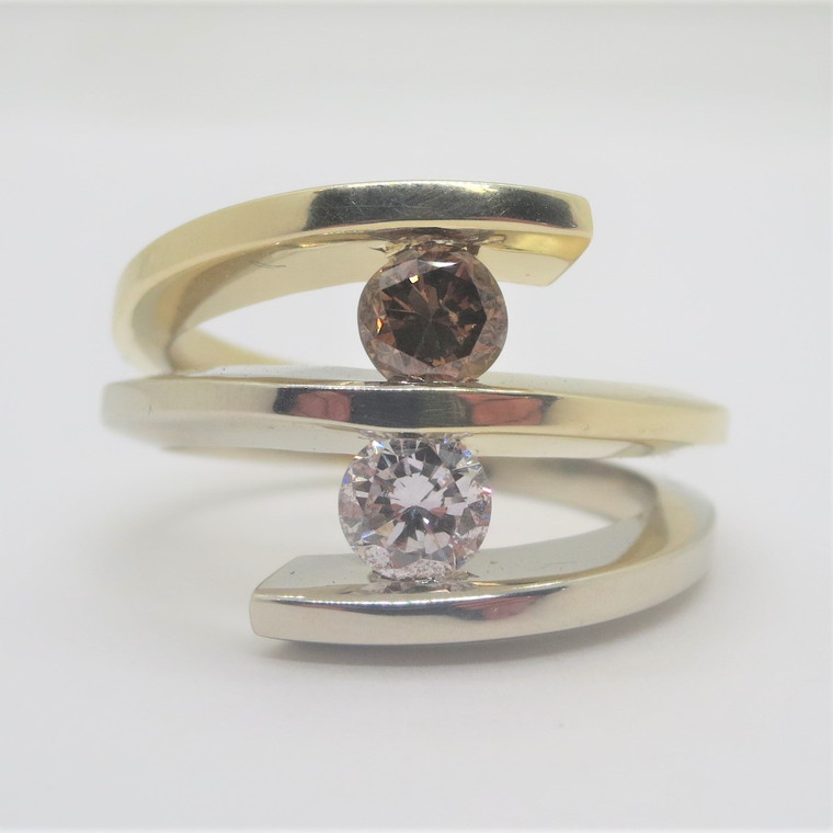14k 2-Tone Gold Approx 1ct TW White & Brown Diamond Modern Fashion Ring Size 8