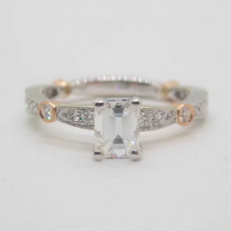 18k White with Rose Gold Diadori .96ct TW Diamond Engagement Ring Size 6 1/2