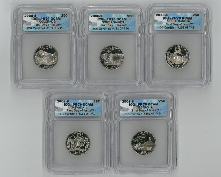 ICG PR70 DCAM 2006 S State Quarter Set (5) Colorado ND SD Nevada Nebraska (5003284)