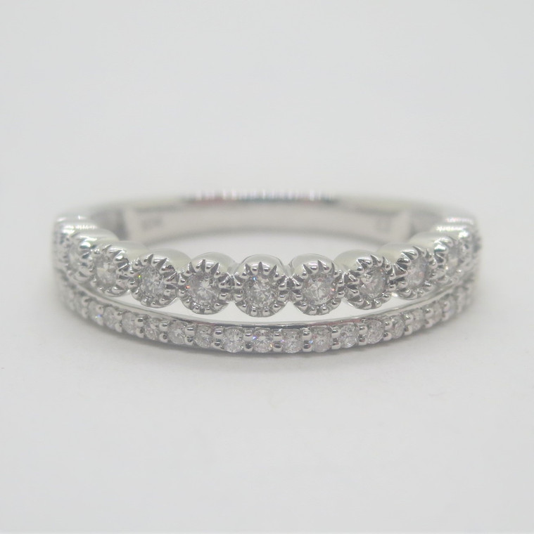 10k White Gold .25ct TW Double Row Diamonds Stackable Band Ring Size 7
