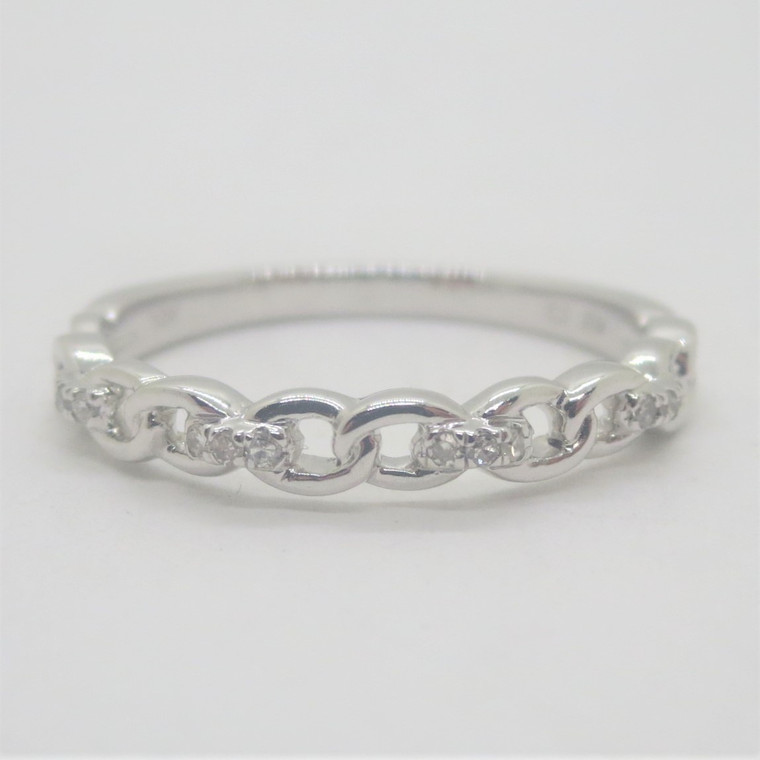 10k White Gold .05ct TW Diamond Stackable Chain Link Design Band Ring Size 7