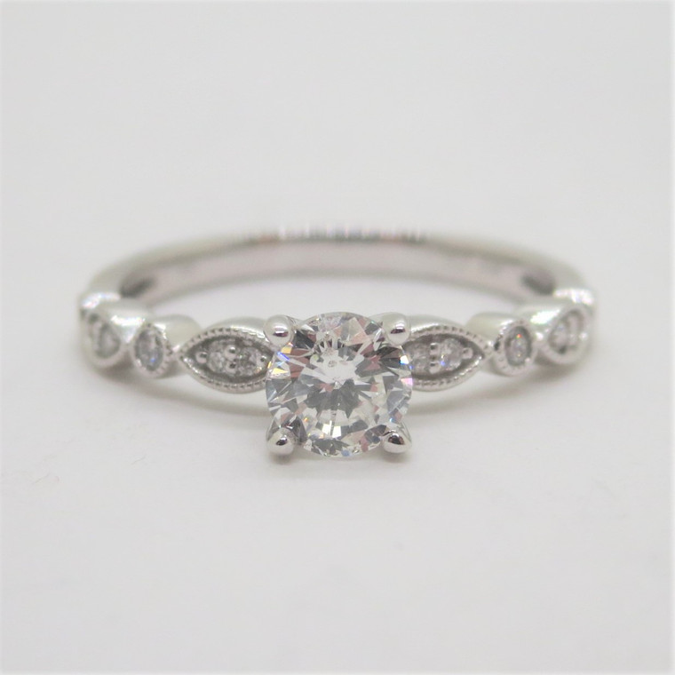 14k White Gold .62ct TW Diamond Engagement Ring Size 7