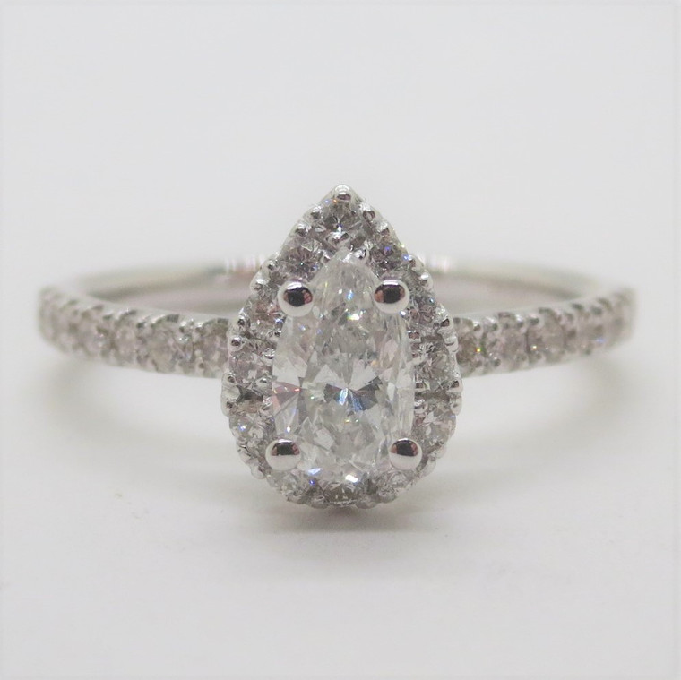 14k White Gold .87ct TW Pear Cut Diamond Engagement Ring with Halo Size 6