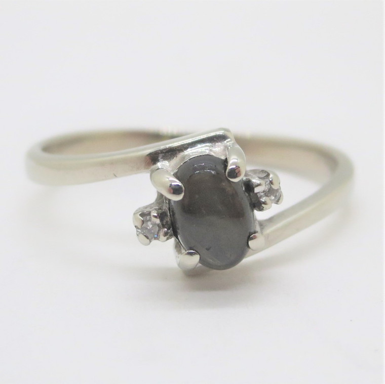 10k White Gold Black Star Sapphire Diamond Accents Fashion Ring Size 6.75