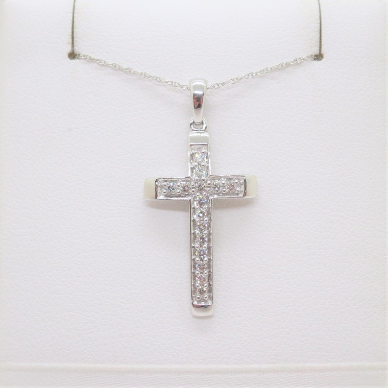 14k White Gold .17ct TW Diamond Cross Pendant Necklace with Original Tag