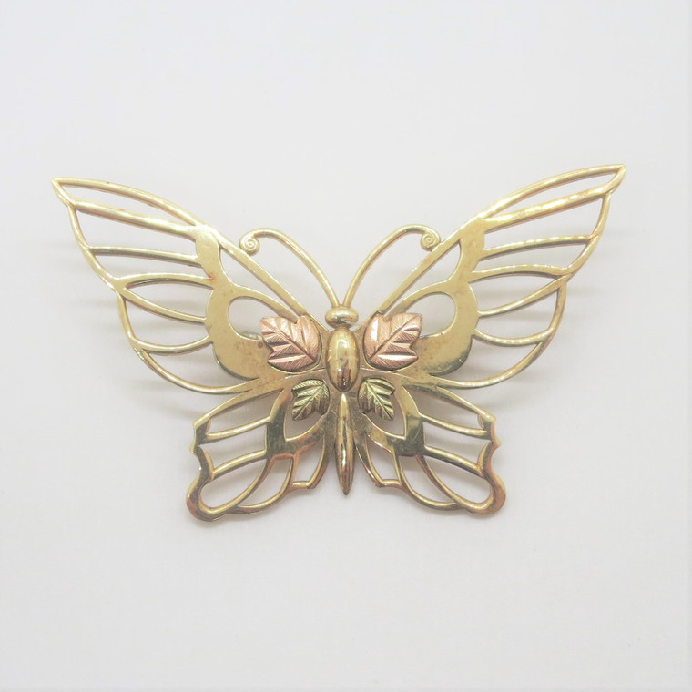 10k Yellow & Black Hills Gold Coleman Butterfly Pin