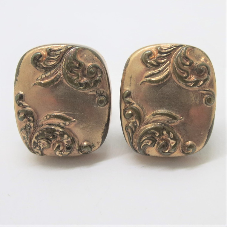 Gold Filled Curved Rectangle Swirl Patterned Cufflinks